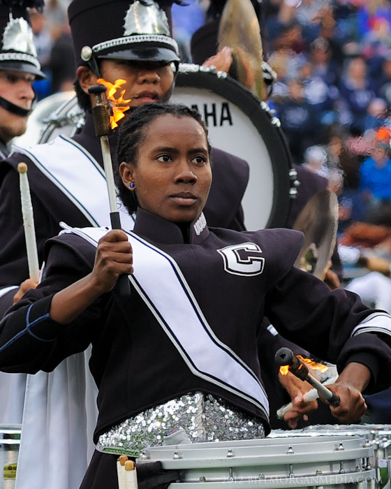 UConn Marching Band snare drummer